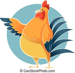 Cartoon greeting Chicken - Vector image of the Cartoon...