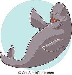 Cartoon Smiling Dugong