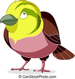Cartoon smiling Yellowhammer