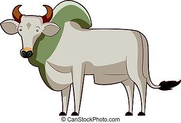 Cartoon standing zebu