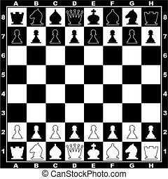 chess - vector image of the chessboard with line ap figures