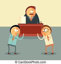 Fighting of businessmen for their boss