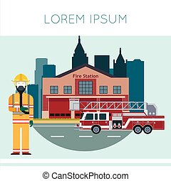 Fire Station Banner - Vector image of the Fire Station...