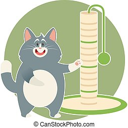 Cat and its Scratching Posts