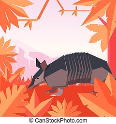 Flat geometric jungle background with Armadillo - Vector...