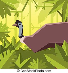 Flat geometric jungle background with Emu - Vector image of...