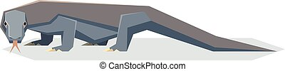 Flat geometric Komodo dragon - Vector image of the Flat...