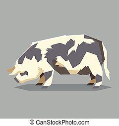 Flat geometric Kunekune pig