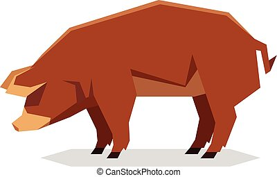 Flat geometric Red Wattle pig - Vector image of the Flat...