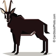 Flat geometric Sable antelope - Vector image of the Flat...
