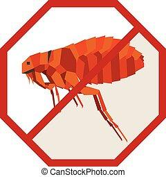 Flat geometric sign with flea