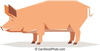 Flat geometric Tamworth pig - Vector image of the Flat ...
