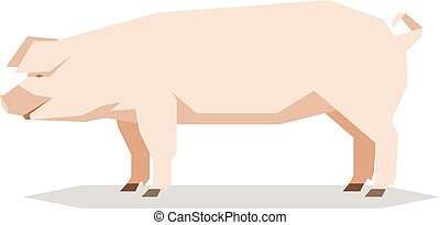 Flat geometric Yorkshire pig - Vector image of the Flat...