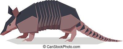 Flat polygonal Nine-banded armadillo - Vector image of the ...