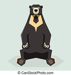 Flat polygonal Sun Bear