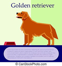 Dog Face Flat Design Golden Retriever Labrador Vector Clipart