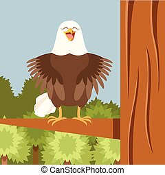 Happy Eagle on the Tree flat Background