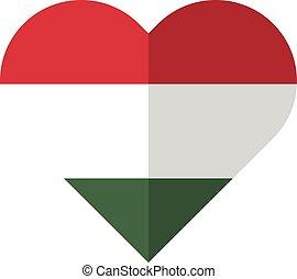 Hungary flat heart flag