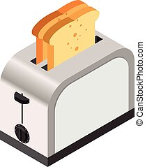 Isometric icon of a toaster with bread