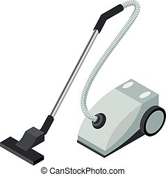 Isometric icon of a vacuum cleaner