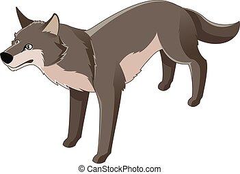 Isometric wolf icon