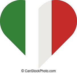 Italy flat heart flag