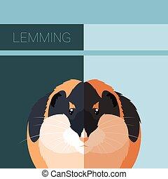 Lemming flat postcard