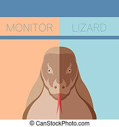 Monitor lizard flat postcard - Vector image of the Monitor...