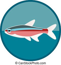 Neon fish icon