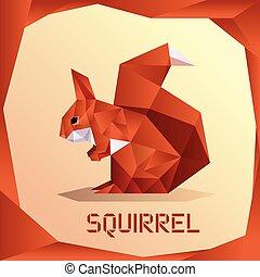 Origami Orange Squirrel