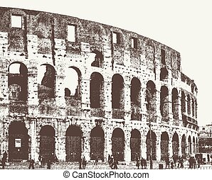 Vector image of the Roman Colosseum