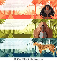 Set of flat banners with african animals