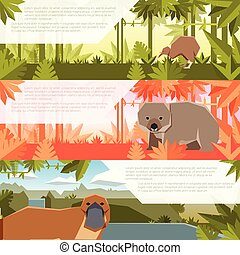 Set of flat banners with australian animals