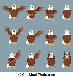 Set of flat eagle icons