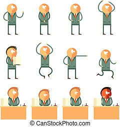 Set of flat human business icons