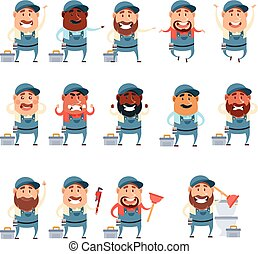 Set of flat plumber icons