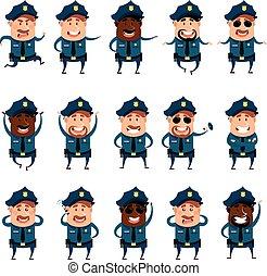 Set of flat police men icons