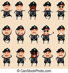 Set of flat police men icons