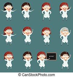 Set of flat scientist women icons