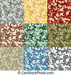 vector image of the Set of samples of a coloring of a camouflage