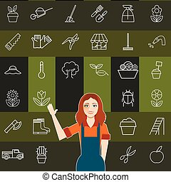 Set of vegetable line icons and a gardener woman
