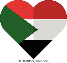 Sudan flat waving flag