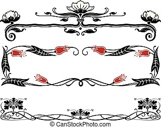 Vector image of the vintage decorative borders