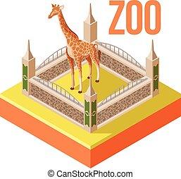 Zoo Giraffe isometric icon