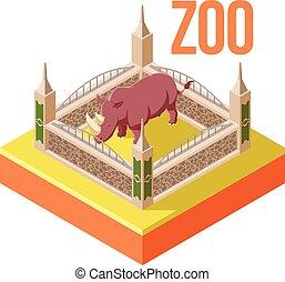 Zoo Rhinoceros isometric icon