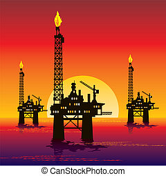 vector image of three oil platforms in the sea at sunset