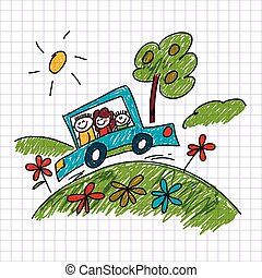 Vector image of traveling family. Notebook paper.