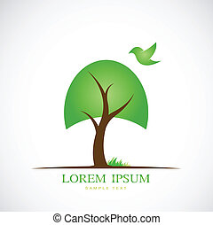 Vector image of trees and birds