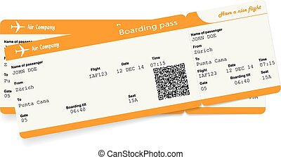 Vector image of two airline boarding pass tickets with QR2...