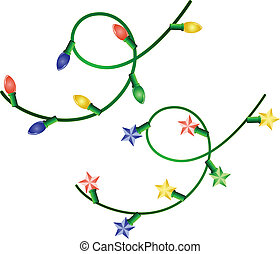 two christmas garlands - Vector image of two christmas...